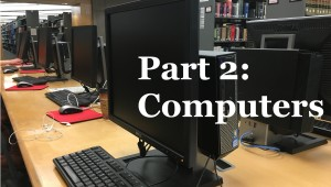 Row of computer stations in the library