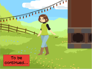 We see the girl in a bright field walking away from the building. The frame says, 'To be continued.""